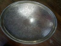 Lovely Vintage Large Butlers Gallery Oval Tray Silver on Copper 40 x 30 cm
