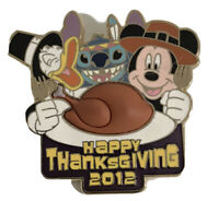 2012 Happy Thanksgiving Stitch Donald Mickey Pin Walt Disney World Disneyland LE