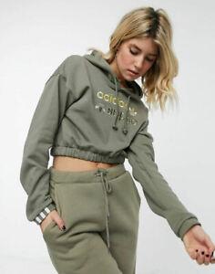 adidas Originals Women's R.Y.V. Cropped Khaki Hoodie Sweatshirt XS S M L