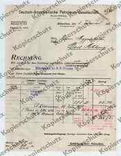 or. Rechnung Tankstelle DAPOLIN Bremen München Bad Aibling Auto Benzin Esso 1912