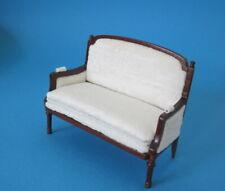 Sofa Chaiselong braun Louis XVI Holz Puppenhausmöbel Miniaturen 1:12