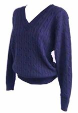 New Womens ladies gorgeous knitted navy cable knit v neck jumper top size 8 / 18