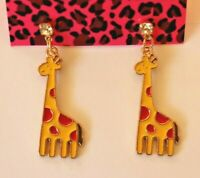 Betsey Johnson Crystal Rhinestone Enamel Giraffe Post Earrings