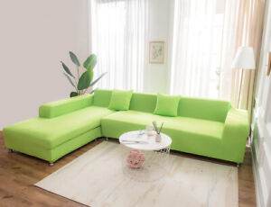 Green 2/3/4 Stretch 3-Seater Sofa Covers Set Couch Cover Slipcovers Protector