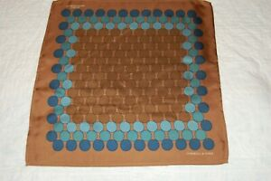 TURNBULL AND ASSER BROWN AND BLUE SILK  POCKET SQUARE NEW