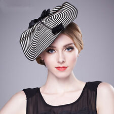 Womens Fascinator Chic Straw Feather Stripe Saucer Church Party Wedding Hat A003