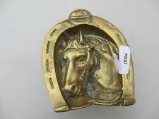 Vintage Horse Brass Pot Tub Holder Soap Dish Stallion Lucky Horse Shoe Old
