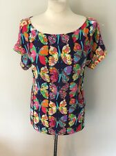 Lilly Pulitzer 100% Silk Butterfly Multicolor Top Blouse Tunic Size Large EUC