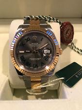 Rolex Datejust II 116333 41mm 18K Yellow Gold /SS Roman Grey Dial *MINT*
