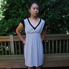 Kate Spade Fluid Crepe Frill Dress 4 COLORBLOCK LIGHT TAUPE BLACK