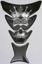Piston Head Skull Black on Chrome 3d Resin Domed Resin Tank Pad 260mm x 180mm