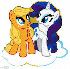 "3"" My little pony rarity applejack on cloud fabric applique iron on character"