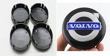 Set of 4 Volvo Black Blue Silver Alloy Wheel Center Hub Cap Emblem Badge 64mm UK