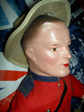 Royal Canadian Mountie compo. & cloth male boudoir type doll, labeled outfit,hat