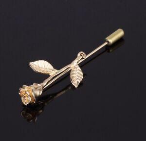 Lapel Pin Rose Flower Gold Metal Men Women Wedding Suit Pin, Groom Boutonniere