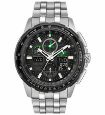 Mens Citizen Eco-Drive Stainless Atomic Skyhawk Chronograph Watch JY8058-50L