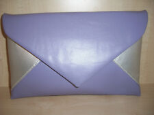 OVER SIZED LILAC & SILVER faux leather envelope clutch bag, fully lined UK made.
