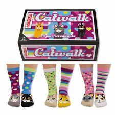 United Oddsocks Catwalk Size UK 4-8 Set Of 6 Socks Kittens Hearts Stripes Ladies