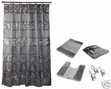 7 Piece Sinatra Silver Shower Curtain, Resin Shower Hooks, 2 Rugs and Towel Set