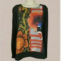 Desigual Womens Floral Print Top Shirt Black Multicolor Long Sleeve - Size Small