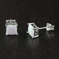 Solid 925 Sterling Silver Lab Created Simulated White Opal Stud Earrings 6mm*6mm