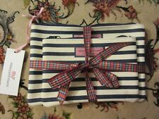 Viineyard Vines Blue & White Canvas Zip Pouch Set of 2 NEW NWT