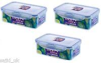 3x Lock and & Lock Food Storage Container Rectangular 1L - 207x134x70mm - HPL817