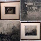 "C.1910 Gustav F Goetsch (1877-1969) 12¼"" Frame Signed Etching Antique Print Set"