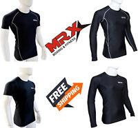 Mens Compression Shirt Long Short Sleeve Base Layers Tights Workout Gym Tops MRX