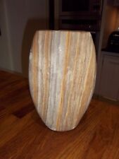 Vase pot made of natural real striped stone, 26 cm high oval shape