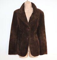 Women's Vintage Fitted Brown Cotton Corduroy Blazer Jacket Size UK16
