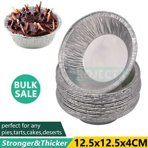 Round Aluminium Foil Tray Disposable Catering Baking Cake Pie Tarts Container Au