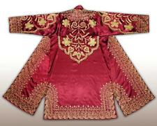 GORGEOUS UZBEK SILK GOLD EMBROIDERED ROBE CHAPAN BUKHARA G049