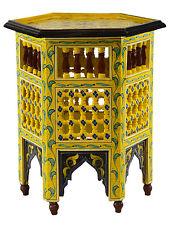 Moroccan Wood Side End Table Corner Coffee Handmade Hand Painted Moorish Yellow