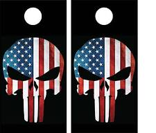 American Flag Skull Cornhole Wraps LAMINATED Decal Set Decals Vinyl Sticker