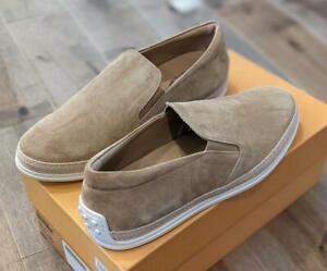 $495 Mens Tod's Suede Slip On Espadrille Sneakers Beige UK 9 US 10
