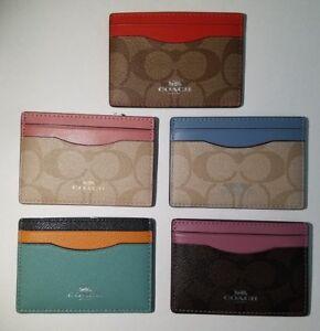 NWT Coach Flat Card Case Leather CHOOSE COLOR F30218 / F63279 / F86112