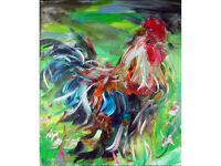 Lynne Wilkinson - 'Meadow Skipper' - Oil on Canvas, Cockerel / Rooster Art