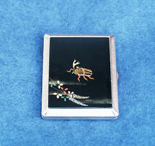ANTIQUE JAPAN LACQUER CIGARETTE CASE HANDPAINTED JAPANESE HORNED BEETLE