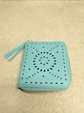 Womens Light Blue And Gold Palm Leaf Vegan Leather Zip Wallet