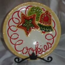 Fitz and Floyd Cookies Christmas Holiday Ceramic Plate Cookies For Santa Claus