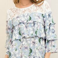 NWT Entro Blue White Floral boho Tiered Ruffle top lace Accent blouse - Small S