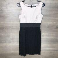 H&M Women's Size 6 Sheath Dress Sleeveless Taupe Black Lace Cocktail