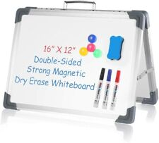 Small Dry Erase White Board 16 X 12 Portable Foldable Magnetic Double Sidedpe