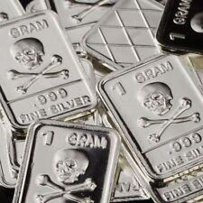 Lot Lot of 30 X 1 Gram  .999  Fine Silver Bar /  Skull and Bones   WPT342 oz