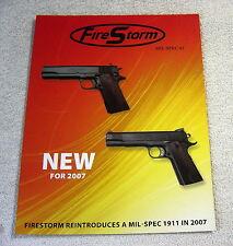 Fire Storm 1911 2007 gun single sheet brochure