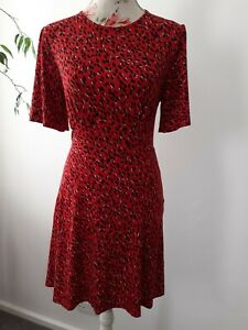 LOVELY WOMENS RED ANIMAL PRINT ROCKABILLY 1940'S TEA DRESS BY NEW LOOK SIZE 10
