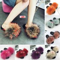 Les Femmes Moelleux en fourrure renard véritable Chaussons Luxe Summer Slides Flat Sandale Indoor Chaussures