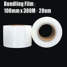4x Bundling Film 100mm x 300m 20um Clear Stretch Wrap Pallet Wrapping