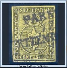 ASI 1852 Parma 5 cent. giallo arancio n. 1 Usato Oliva Antichi Stati Italiani